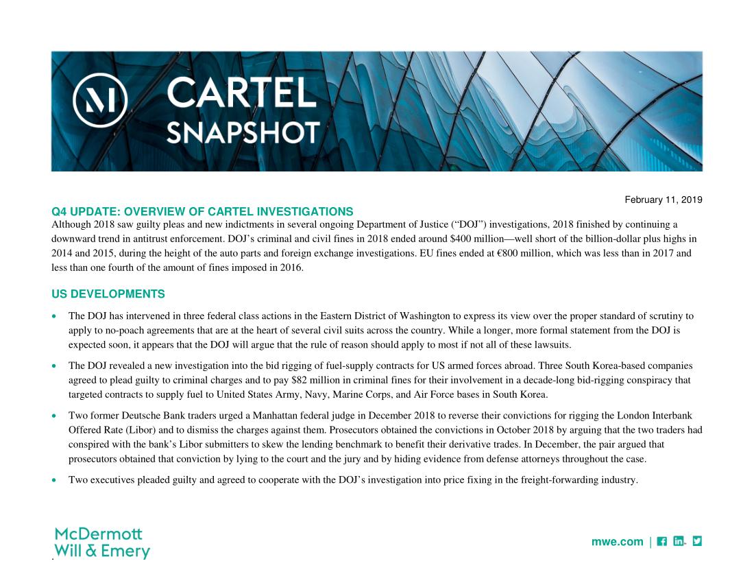 Cartel Snapshot - February 2019